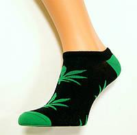 Носки женские с марихуаной низкие черного цвета