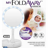 Зеркало с LED подсветкой Круглое складное My Fold Away , фото 1