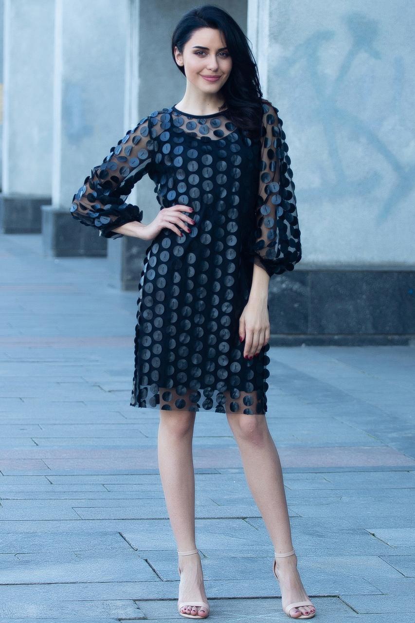 Чёрное платье Azera из прозрачной сетки с кожаными нашивками и широкими рукавами