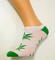 Носки женские с марихуаной низкие белого цвета