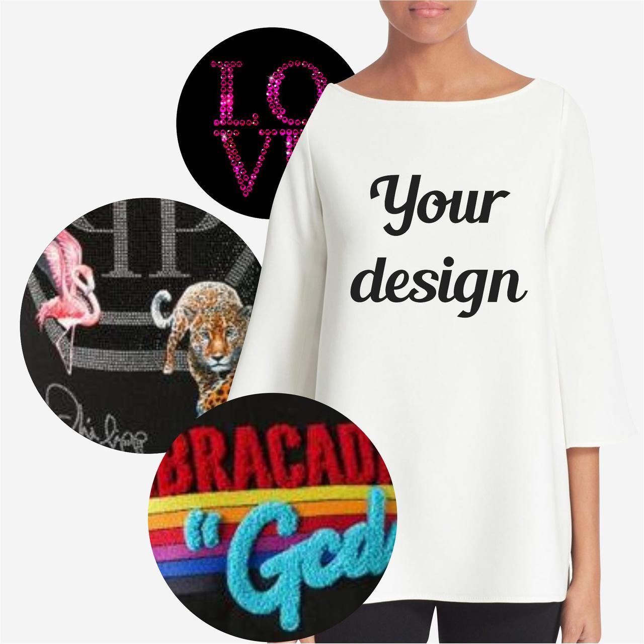 Подбор/Разработка дизайнов декора для женских футболок, худи и толстовок (фото в описании)