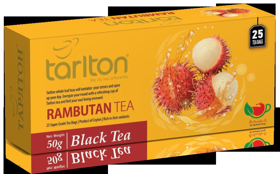 Чай черный пакетированный Тарлтон Rambutan Black Tea со вкусом фрукта рамбутан 25 пак х 2 г