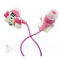 Наушники вакуумные детские Hello Kitty розовые, mini jack 3.5m, наушники затычки, детские наушники