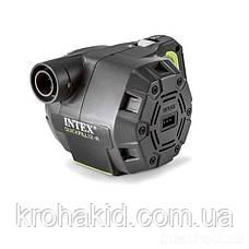 Електричний акумуляторний насос Intex від мережі 220v/12V з насадками - для матраца, ліжка, човни, басейну, фото 2