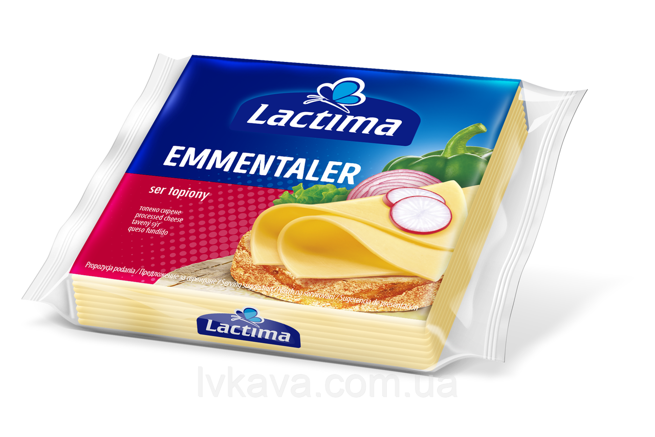 Сыр плавленный нарезанный Lactima Эмменталь , 130 гр
