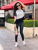 Футболка женская с сеткой в горошек серая чёрная , фото 1
