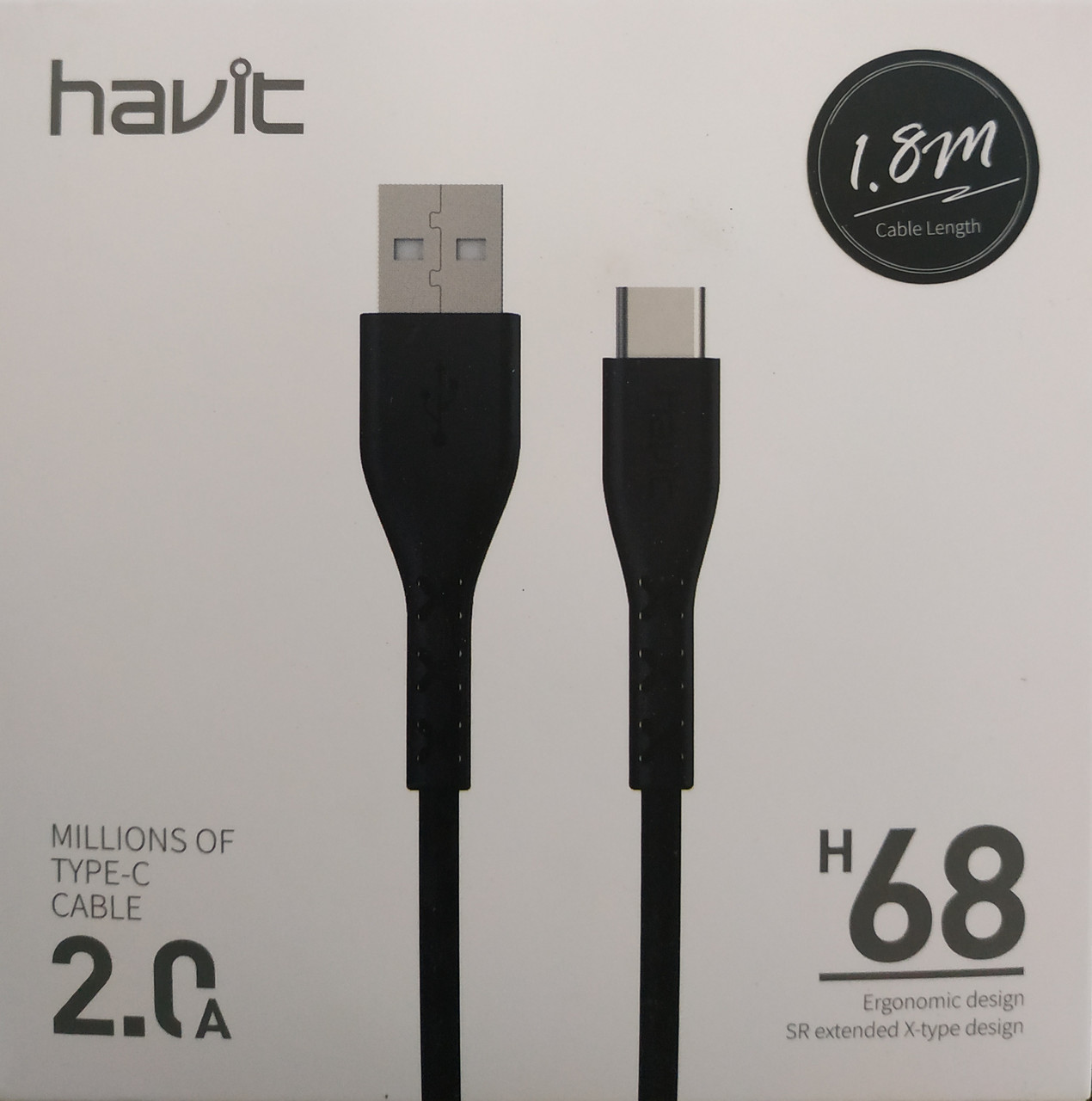 Кабель для передачи данных смартфона Havit HV-H68, 1.8m, gray, TYPE C