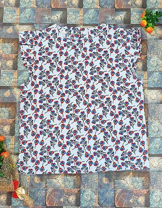 Блузка Ярослава  128-152 цветочки на голубом, фото 2