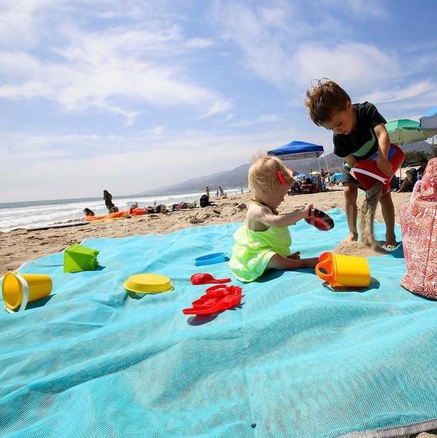 Анти-песок пляжная чудо-подстилка Originalsize Sand Free Mat 200*200 Голубая