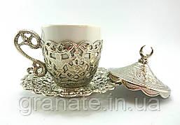 Турецкая чашка для кофе 110 мл, цвет: серебро