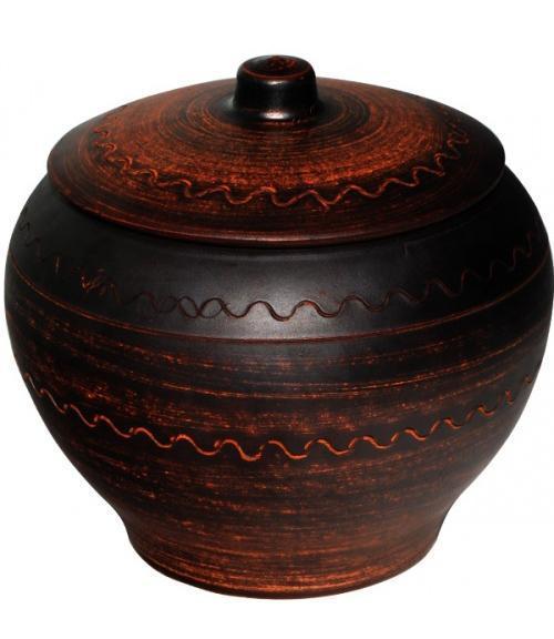 """Горшок для запекания """"Славянский подарок"""" 700мл Дымленая керамика"""