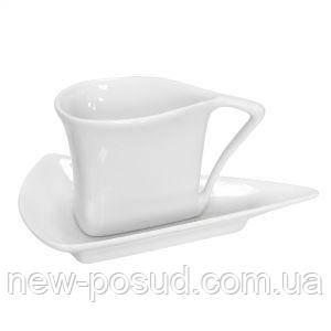 Чашка 80 мл треугольная с блюдцем Helfer 21-04-258
