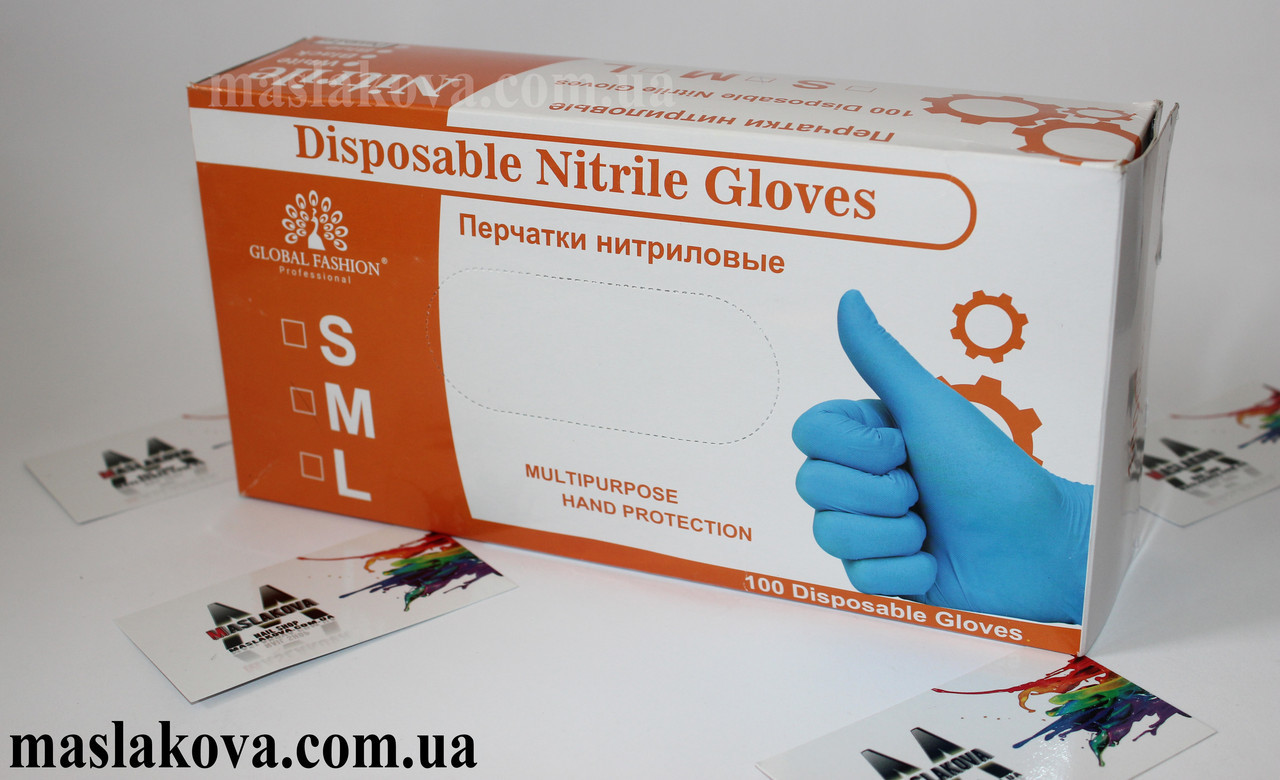 Перчатки нитриловые розовые размер М 1шт.