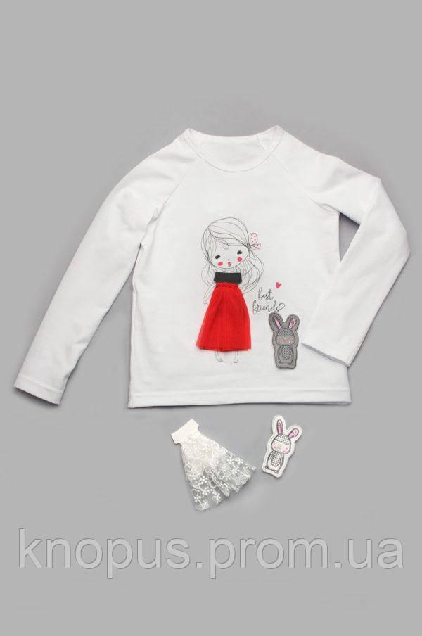 Нарядный реглан для девочки со сменным декором, белый, Модный карапуз, размеры 110-128