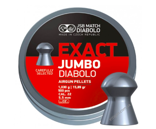 Пули пневматические JSB Diabolo Exact Jumbo 5.5,1.03,500шт, фото 2