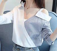 Элегантная, хлопковая женская рубашка выполнена в необычном и интересном  дизайне