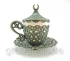 Турецкая чашка для кофе 110 мл, цвет: темное серебро