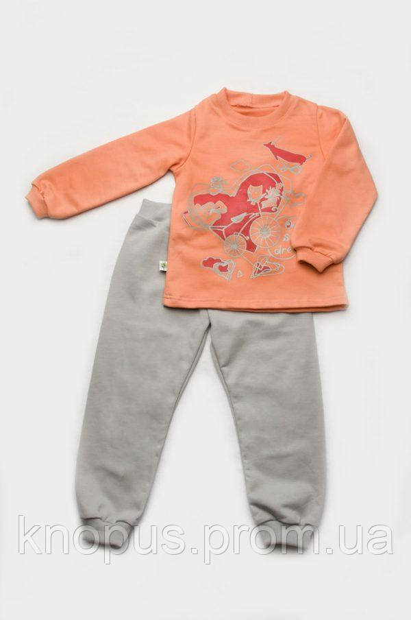 Пижама для девочки утепленная (футер), Модный карапуз, размеры 92-122