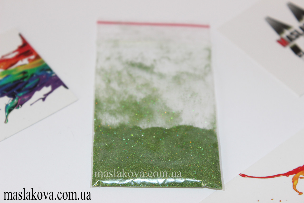 Зеркальный блеск. Микро пыль зелёный голографик.