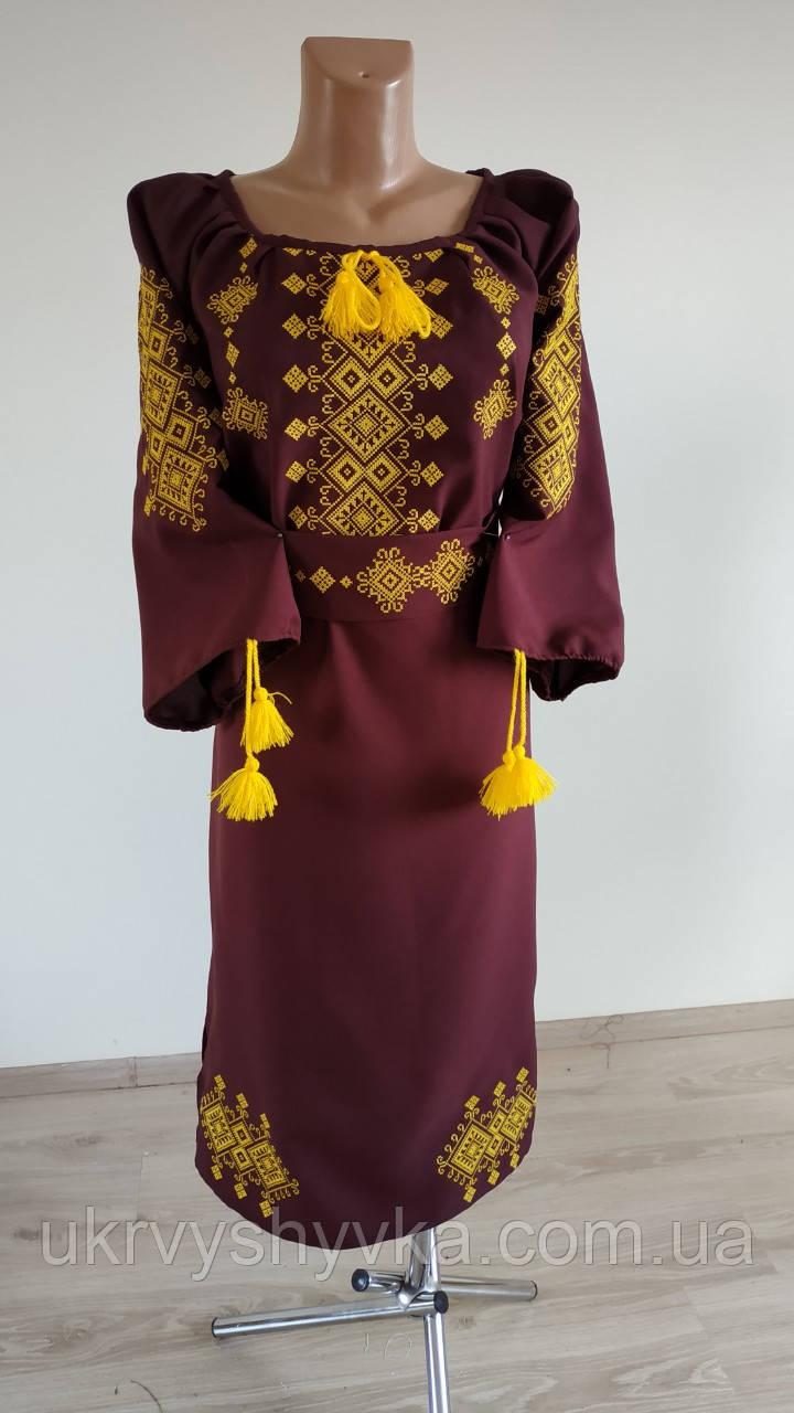 """Вишиване плаття """"Азалія""""  бордо"""