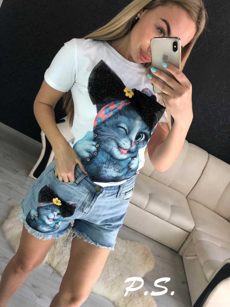 Стильные костюмы с джинсовыми шортами , размеры S.M.L.XI