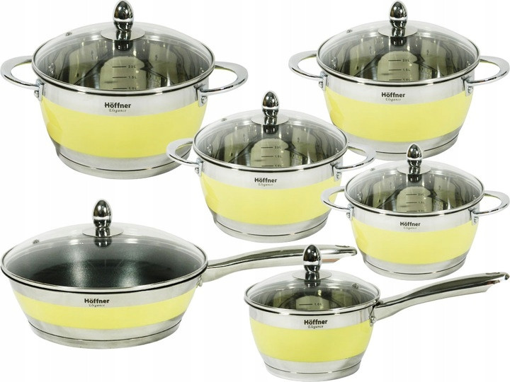 Набор кухонной посуды Hoffner 9969-(Beige) 12 элементов кастрюли, сковорода, сотейник