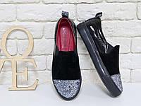 727b1ff86 Женские слипоны цвет чёрный итальянский текстиль