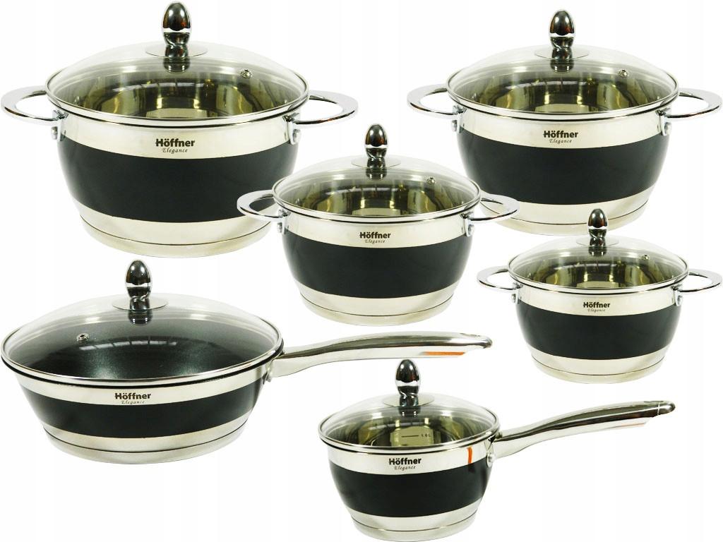 Набор кухонной посуды Hoffner 9969-(Black) 12 элементов кастрюли, сковорода, сотейник