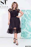 Женское нарядное платье Евросетка и гипюр ресничка Размер 48 50 52 54 56 58 60 62 64 В наличии 4 цвета, фото 1