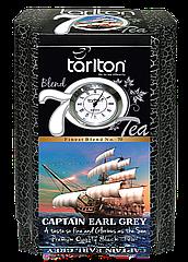 Чай черный листовой Тарлтон Captain Earl Grey с маслом бергамота 200 г в жестяной банке с часами