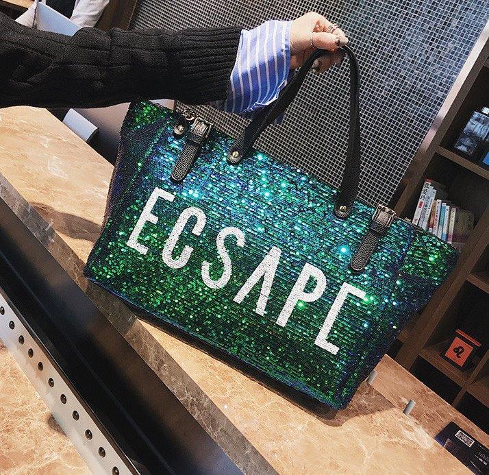 Большая женская сумка шопер с пайетками зеленая