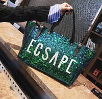 Большая женская сумка шопер с пайетками зеленая, фото 1