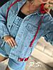 Куртка джинсовая женская, стильная с капюшоном 1203-083-3