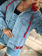 Куртка джинсовая женская, стильная с капюшоном 1203-083-3, фото 1