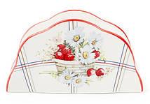 "Подставка для салфеток фарфоровая ""Земляничная фантазия"" 14.5х4х8см (салфетница)"