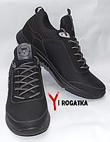 Мужские кожанные кроссовки Splinter черные с легкой подошвой