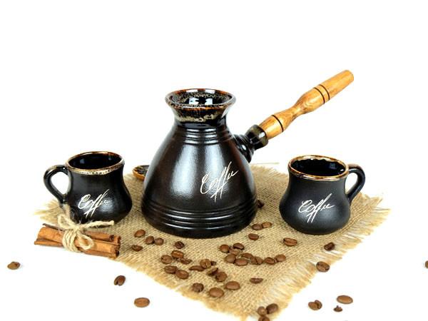 Турка «Бодрость» керамическая с деревянной ручкой и чашками 400 мл