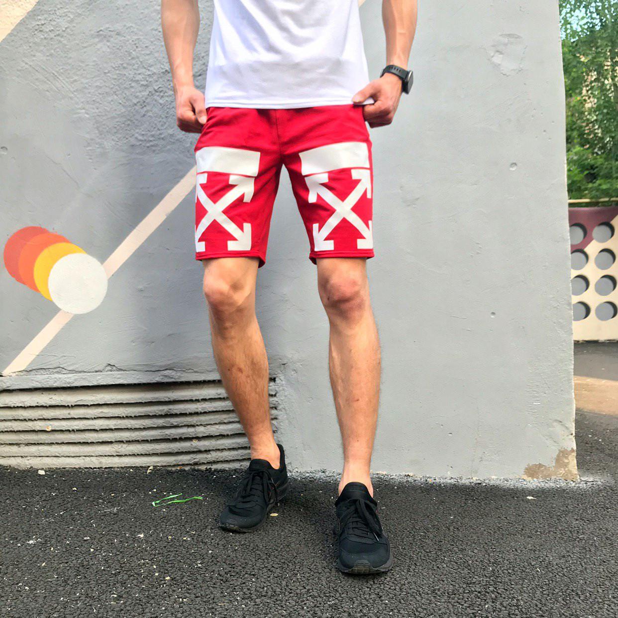 Шорты трикотажные в стиле Off White Cross stripe красные