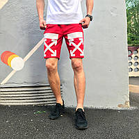 Шорты трикотажные в стиле Off White Cross stripe красные, фото 1