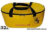Складное Ведро LionFish.sub Сумка для Рыбалки, Охоты, Походов – Овальное, 32л ЖЁЛТОГО ЦВЕТА, фото 1