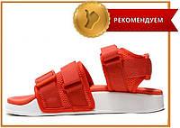 Стильные женские сандалии Adidas Adilette 2.0 Red White (босоножки адидас адилетте, красные / белые) ХИТ 2019