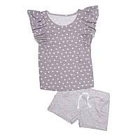 Комплект для девочки, футболка и шорты. Звезды.