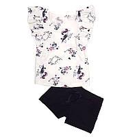 Комплект для девочки, футболка и шорты. Единорог.