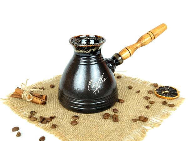 Турка «Бодрость» керамическая с деревянной ручкой 400 мл + рассекатель