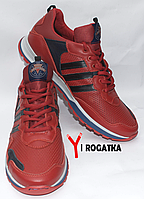 Мужские кожанные кроссовки Splinter, перфорация, комбинированые красные с черными вставками, серая подошва