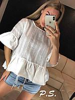 Блуза женская, хлопковая, цвет белый, 1203-043-16, фото 1