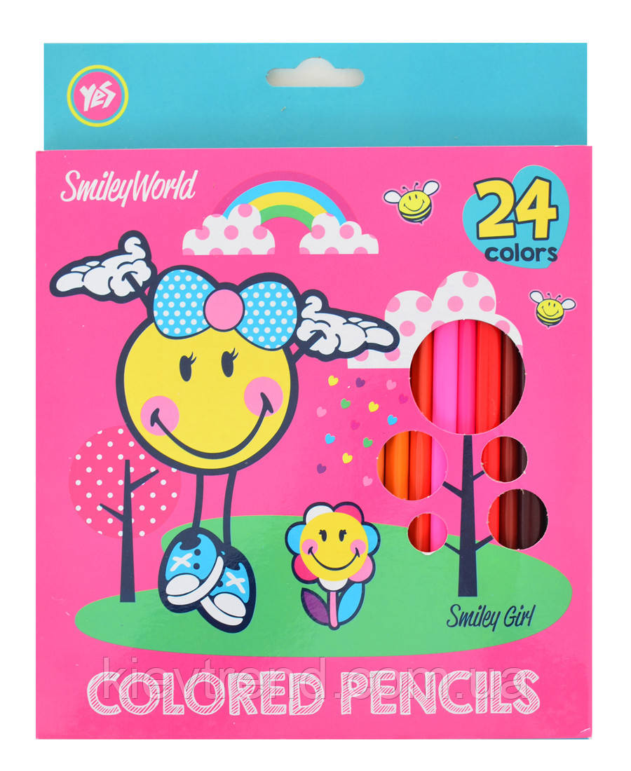 "Олівці 24 кольори ""Smiley World""(pink)"
