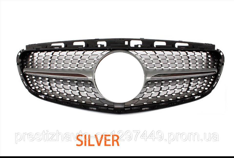 Решетка радиатора Mercedes E-class W212 2013-2016 стиль Diamond (Silver)