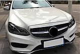 Решетка радиатора Mercedes E-class W212 2013-2016 стиль Diamond (Silver), фото 4