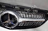 Решетка радиатора Mercedes E-class W212 2013-2016 стиль Diamond (Silver), фото 2